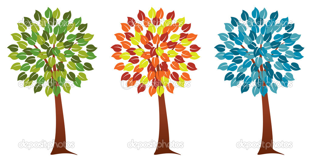 Vector set of seasonal trees — Stock Vector #9527732