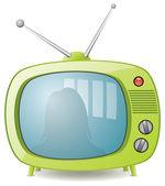 Vector green retro tv set — Stock Vector