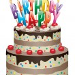 Vector birthday chocolate cake — Stock Vector