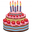 Vector birthday cake — Stockvectorbeeld