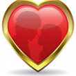 Vector golden heart with reflection - Stock Vector