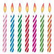 Vector colorful birthday candles - Stock Vector