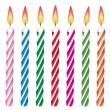 Vektor-bunte Geburtstagskerzen — Stockvektor