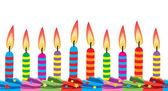 Vector birthday candles on cake — Stockvektor