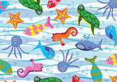 Vector colorful sea animals — Stock Vector