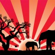 Vector elephants in africa — Vector de stock