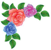 Vector colorful roses with leaves — ストックベクタ