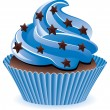 Vector blue cupcake — Stock Vector