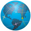 Vector airplane flight paths over earth globe — Stock Vector #9739912