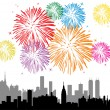 Vector fireworks over a city — Stock Vector #9768270