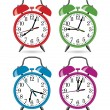 Stock Vector: Vector set of colorful retro alarm clocks