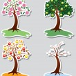 Vector set of apple trees in four seasons — Vector de stock