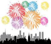 Vector fireworks over a city — Stock Vector