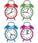 Vector set of colorful retro alarm clocks — ストックベクタ