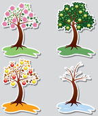 Vector set of apple trees in four seasons — Stock Vector