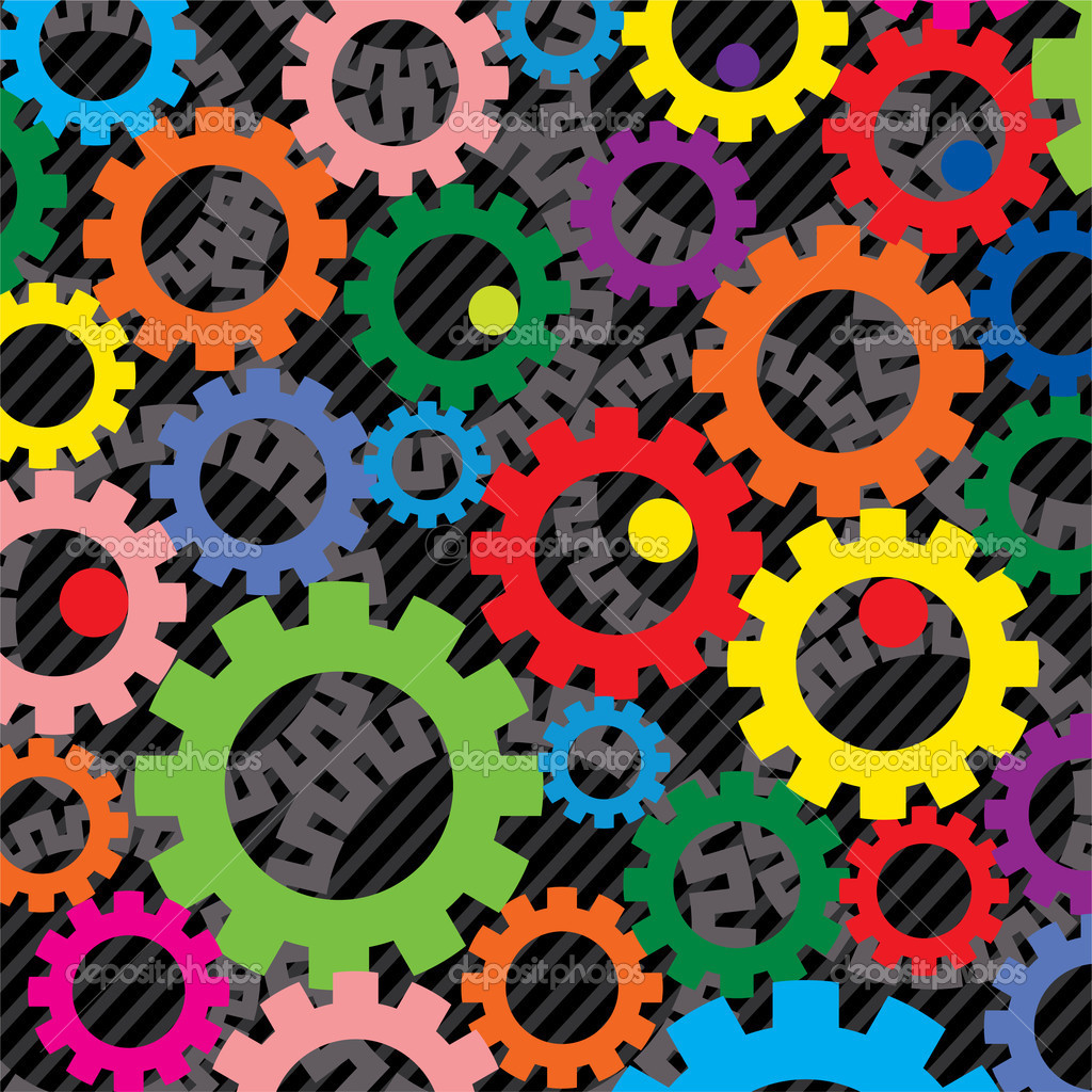 Vector background of colorful gears — Stock Vector ...
