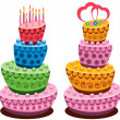Vector birthday and wedding cakes — Stock Vector