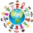 Vector children around world — Stockvector #9802579