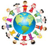 Enfants de vecteur dans le monde — Vecteur
