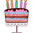 Vector birthday cake on a stand with burning candles — Stock Vector