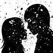 Vector grunge silhouette of young man and woman — Stock Vector