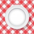 Vector red picnic tablecloth and empty plate — Stock Vector