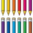 Vector colorful pencils clipart — Stock Vector