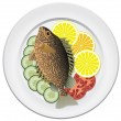 Vector fish and vegetables on a plate — Stock Vector #9859233