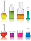 Vector set of laboratory glassware — Stock Vector