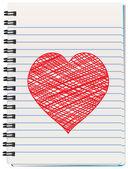 вектор блокнот с рука нарисованные сердца — Cтоковый вектор