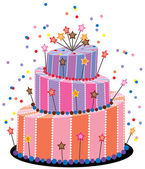 Vector big birthday cake — Stock Vector