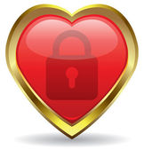 Vector lock in the heart icon — Stock Vector
