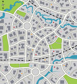 Vector abstract city map — Stock Vector