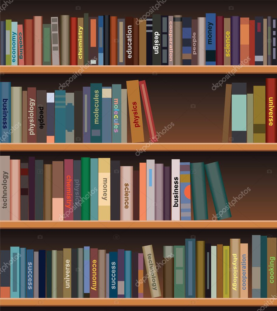 Vector wooden bookshelf with books — Stock Vector © dmstudio ...
