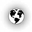 Vector black and white earth globe — Stock Vector