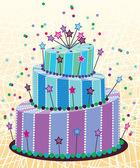 Vector big birthday cake — Stock Vector