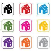Vector set of home symbols — Stock Vector