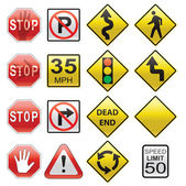 Vector set of road signs — Stock Vector