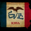 USA American Iowa State Map outline with grunge effect flag and — Stock Photo