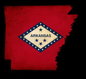 USA American Arkansas State Map outline with grunge effect flag — Stock Photo