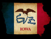 USA American Iowa State Map outline with grunge effect flag — Stock Photo