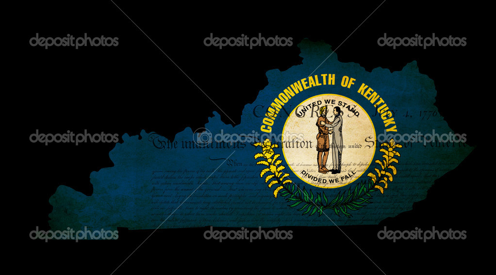 Outline of American USA Kentucky state with grunge effect flag insert and overlay of Declaration of Independence document  Stock Photo #10317585