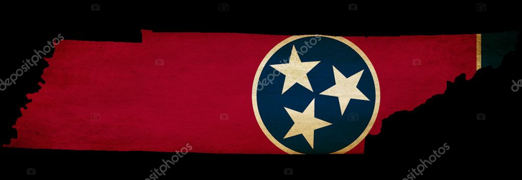 USA American Tennessee state map outline with grunge effect flag insert  Stock Photo #10324444