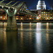 Long exposure of St Paul's cathedral in London at night with ref — Stock Photo