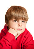 Portrait of young handsome boy wearing red hoodie — Stock Photo