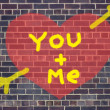 Valentine's Day heart and arrow graffiti on brick wall backgroun — Stock Photo #8825213