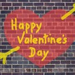 Valentine's Day heart and arrow graffiti on brick wall backgroun — Стоковая фотография