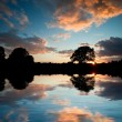 Stock Photo: Stunning sunset silhouette reflected in calm lake water