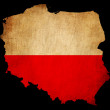 Poland grunge map outline with flag — Stock Photo