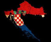 хорватия гранж контура карты с флагом — Стоковое фото